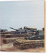 Base Camp Artillery Guns Self-propelled Howitzer M109 Camp Enari Central Highlands Vietnam 1969 Wood Print