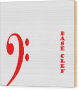 Base Clef - Music Symbol - Red Wood Print