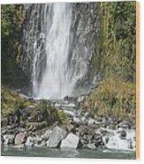 Base Of Thunder Creek Falls Wood Print