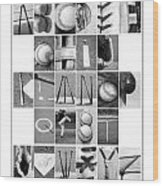 Baseball Alphabet Wood Print