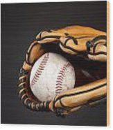 Baseball And Glove Wood Print by Joe Belanger