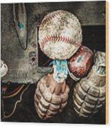 Baseball And Hand Grenades Wood Print