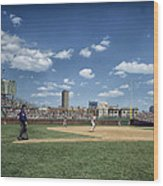 Baseball At Wrigley Field In The 1990s Wood Print