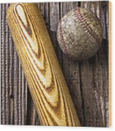 Baseball Bat And Ball Wood Print