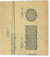 Baseball Bat Patent Wood Print