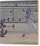 Baseball Batter Contact Digital Art Wood Print