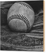 Baseball Broken In Black And White Wood Print