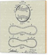 Baseball By Maynard 1928 Patent Art Wood Print by Prior Art Design