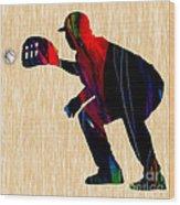 Baseball Catcher Wood Print