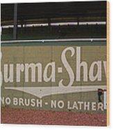 Baseball Field Burma Shave Sign Wood Print