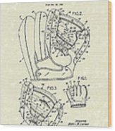 Baseball Glove 1953 Patent Art Wood Print by Prior Art Design