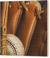 Baseball Glove And Baseball Wood Print