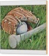 Baseball Glove Bat And Ball Wood Print