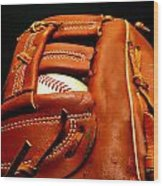 Baseball Glove With Ball Wood Print