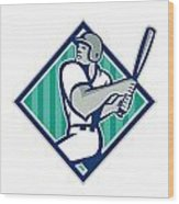 Baseball Hitter Batting Diamond Retro Wood Print