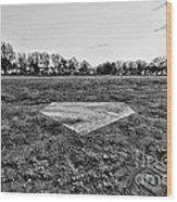 Baseball - Home Plate - Black And White Wood Print