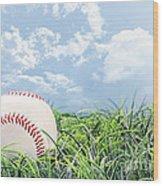 Baseball In Grass Wood Print by Stephanie Frey