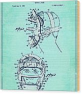Baseball Mask Patent Blue Us2627602 A Wood Print