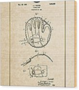 Baseball Mitt By Archibald J. Turner - Vintage Patent Document Wood Print