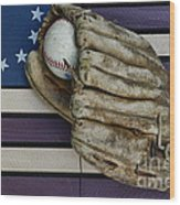 Baseball Mitt On American Flag Folk Art Wood Print