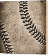 Baseball Old And Worn Wood Print by Paul Ward