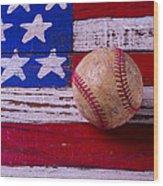 Baseball On American Flag Wood Print