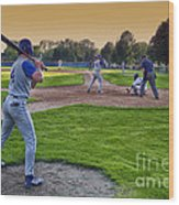 Baseball On Deck Circle Wood Print