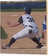 Baseball Pick Off Attempt Wood Print