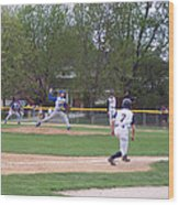 Baseball Pitcher The Delivery Wood Print
