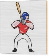 Baseball Player Batting Front Isolated Cartoon Wood Print