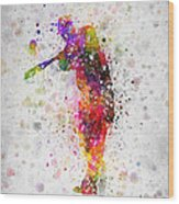 Baseball Player - Taking A Swing Wood Print