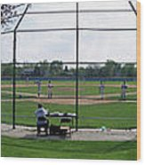 Baseball Playing Hard 3 Panel Composite 01 Wood Print