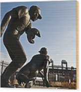 Baseball Statue At Citizens Bank Park Wood Print by Bill Cannon