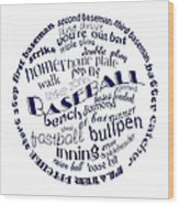 Baseball Terms Typography Blue On White Wood Print