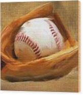 Baseball V Wood Print