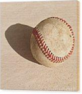 Baseball With Shadow Wood Print
