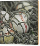 Baseballs And Net Wood Print