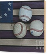 Baseballs On American Flag Folkart Wood Print