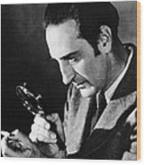 Basil Rathbone In Sherlock Holmes And The Voice Of Terror  Wood Print by Silver Screen