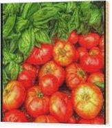 Basil Tomato Wood Print