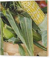 Basket Farmers Market Corn Wood Print