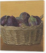 Basket Filled With Figs Wood Print