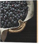 Basket Full Fresh Picked Blueberries Wood Print by Edward Fielding