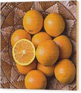 Basket Full Of Oranges Wood Print