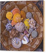 Basket Full Of Seashells Wood Print
