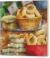 Basket Of Bialys Wood Print