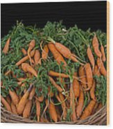 Basket Of Carrots Wood Print