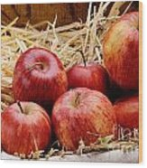 Basket Of Delicious Red Apples Wood Print