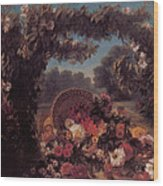 Basket Of Flowers In A Park Wood Print by Eugene Delacroix