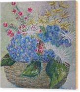 Basket Of Flowers Wood Print by Terri Maddin-Miller